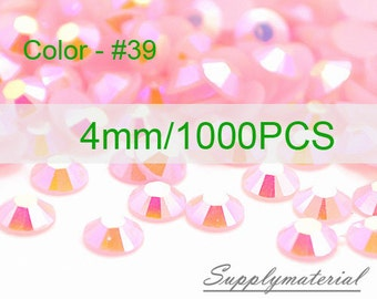 4mm/1000pcs Pink AB color Flatback Rhinestone Crystal accessories material supplies