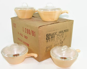 4 NOS Anchor Hocking Fire King Peach Lustre Casseroles, Copper Tint Handled Serving Dish with Cover, Original Labels, Peach Luster