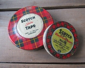 Vintage Scotch Tape Tin Red Plaid Cellulose Tape Electrical Tape 2 tins