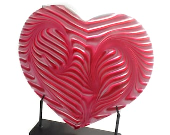 Pink Striped Heart Fused Glass Art Including Metal Stand FB602 Wedding Gift / Anniversary Gift / Valentine's Day Gift /