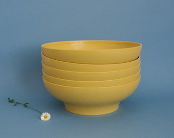 SALE Tupperware bowl set (5) yellow mustard colour Made in Australia cereal dishes 1960s 1970s