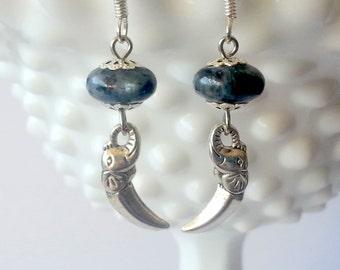 Grey Labradorite and Elephant Dangle Earrings