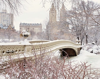 NYC Photography Central Park Snow New York City Winter Snowstorm Romantic Photo Bow Bridge Snowy Trees Large Wall Art White Brown Red Beige