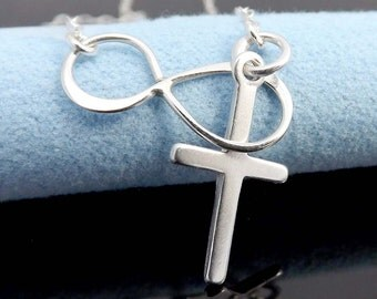 Lariat Necklace with Cross and Infinity - Sterling Silver Lariat Necklace-Gift for birthday & Mother's Day gifts