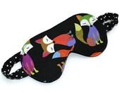 Sleep Mask, Eye Mask, Blindfold, Travel Accessory, Fox, Black with White Polka Dots, Orange, Green, Purple, Pink, Cotton