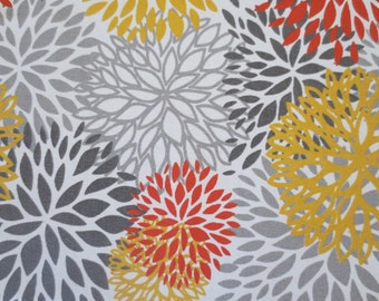OUTDOOR Pillow Cover / Grey, Yellow and Orange Print / Pillow Cover