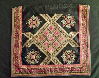 ANTIQUE ASIAN EMBROIDERY antique tribal textile handstitched black magenta hot pick fuchsia tribal embroidery