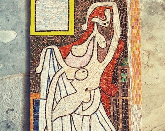 Picasso inspired glass mosaic. red, rose, multicolour glass mosaic. Art. home decor. Naked in Red Chair
