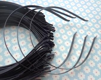 plain Black colored iron metal headband - 22 pcs 6mm