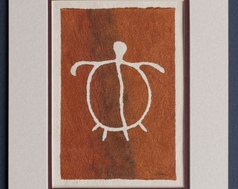 Honu - Hawaiian Petroglyph Design  on Tapa Cloth - Matted and READY TO FRAME