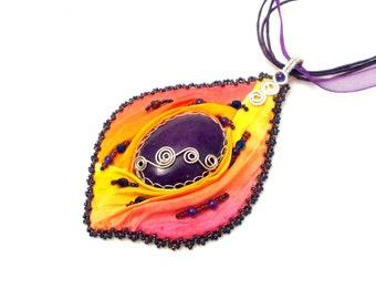 Sunset shibori pendant, purple shibori silk pendant, mountain jade gemstone pendant with shibori silk, wire wrapped shibori silk pendant