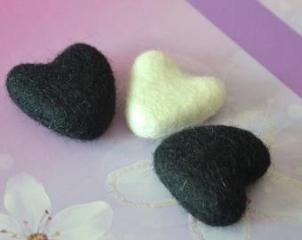 SALE 3pcs Needle Felted Hearts (Black & White)