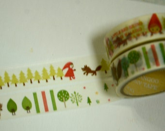 2 Rolls  Japanese Washi Masking Paper Tape : Little Red Ridinghood and Wolf
