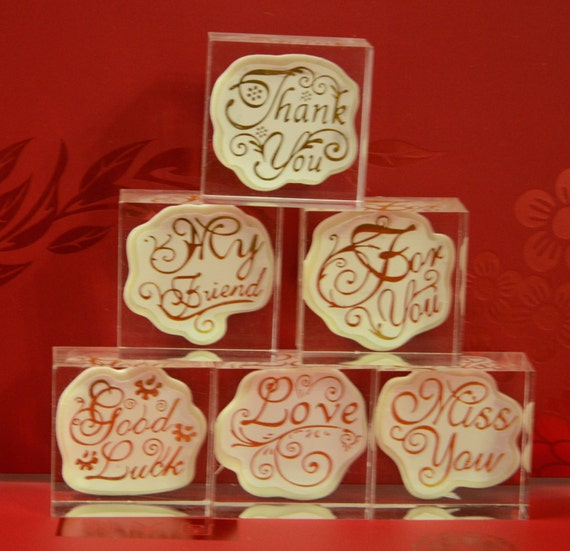 A Korean Crystal Square Rubber Message Stamp (Pick your message)- My Friend, Thank You, Miss You, For you, Good Luck, Or Love