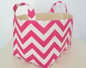 Chevron Storage Basket Fabric Organizer with Handles in Zig Zag Candy Pink - Your choice of size