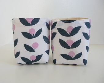 Canvas Fabric Basket Organizers in Rosey Cheeks by Jansdotter - Set of 2 Small Bins