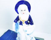 French Lady Vintage Porcelain Figurine. French Country Home.  Collectible. Nick Knack. Bedroom. Living Room. Home Office.