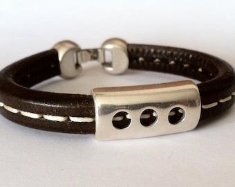Men's  Leather Bracelet, Leather bracelet,  mens bracelet,  leather bracelet for man, Licorice leather, Husband gift,