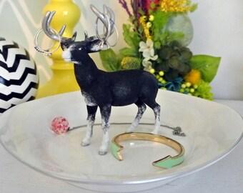 Striking Black Deer Jewelry Dish