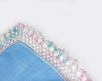 Linen Crochet Handkerchief Vintage Hankie with Crochet Edge Blue with Crochet White Pink and Blue Edge State Sale