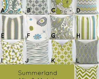 Gray & Green Throw Pillows -18x18 inch- Mix/Match patterns grey blue ecru, Decorative Cushion Covers, Summerland Premier Prints, FREESHIP