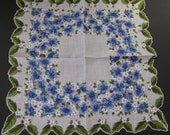 Vintage Hankie with Vibrant Blue Fowers  H-145