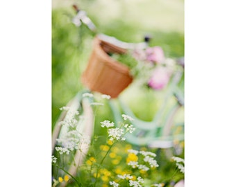 Bicycle Postcard, Summer, Pastel, Flower, Dreamy Fine Art Print,  Nature Photography