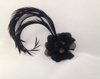 Bewitching Black Floral & Feather Hair Accessory