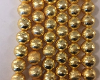 10mm round brushed, gold plated copper beads, 20 beads