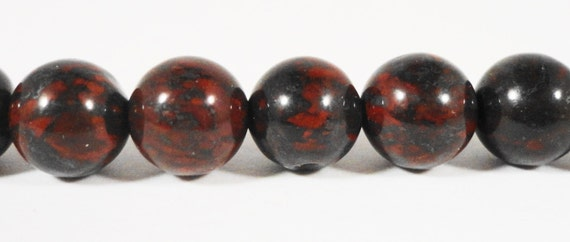 Bloodstone Gemstone Beads 8mm Round Smooth Natural Deep Red and Charcoal Gray (Grey) Stone Beads on a Full 15 Inch Strand with 46 Beads