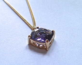 Tanzanite necklace, Tanzanite gold,  layering necklace, Tanzanite charm necklace, pendant necklace