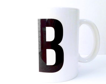 Personalized Monogram Ceramic Mug - 11 oz. or 15 oz. Black & White -  Modern, For the Home, Apartment, Kitchen, Gift, Housewarming, Holiday
