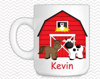 Barn Yard Red Kids Mug - Personalized Barn Yard Mug - Customized Mug - Melamine Cup - Personalized Kids cup