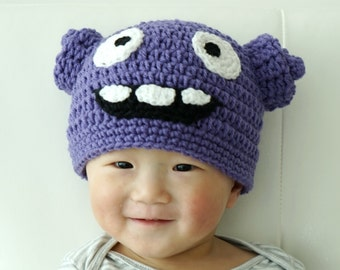Oh Hat, Boov Hat, Home Hat, Crochet Baby Hat, Alien Baby Hat, Purple, photo prop, Inspired by Oh from Home