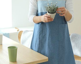Free Shipping Cozymom Japanese style Back Button Shape Natural linen Cotton APRON-Blue Color