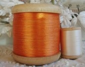 Large Antique French c1930's Vintage Tangerine Orange Silk Blend Embroidery Sewing Floss Thread Millinery Ribbonwork Lace Fly Tying Trim
