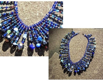 Dangling Beadwork Necklace in Rich Blues, Cobalt Blue