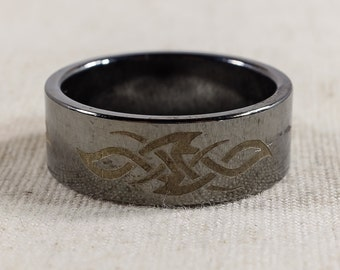 Unique Modern Men's 925 Sterling Silver Tribal Design Engraved Wide Band Size 10 – 9.1 grams FREE SHIPPING!