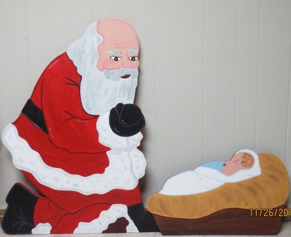 Christmas santa kneeling over baby jesus wood outdoor yard for Baby jesus outdoor christmas decoration