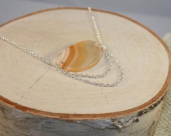 Orange Agate and Chain Necklace- Peaches and Cream