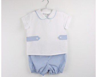 Boy outfit - Boy White  shirt with Peter Pan collar and striped short bloomers - Available in various colors