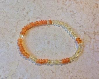 Citrine and Carnelian Fibonacci Sequence Bracelet