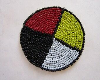 "3"" Glass Beaded Rosette  Medicine Wheel 4 Direction Tribal Regalia Beadwork Craft mw1"