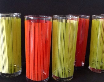 Tall Glasses - Vintage Orange and Green Striped Drinking Glasses