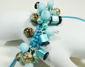 Macrame Beaded Bracelet,  Wire Wrapped Macrame Bracelet, Turquoise Bracelet, Shambala Bracelet, Adjustable Bracelet, Beaded Bracelet