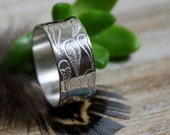 feathers sterling silver ring , Calamus, unisex ring, promise ring, wedding ring