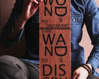Wood Art Inspirational Quote Image Transfer, 'Wonder'