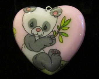 Kawaii Panda Bear Necklace-Puffy Heart-Handmade Resin Pendant Jewelry