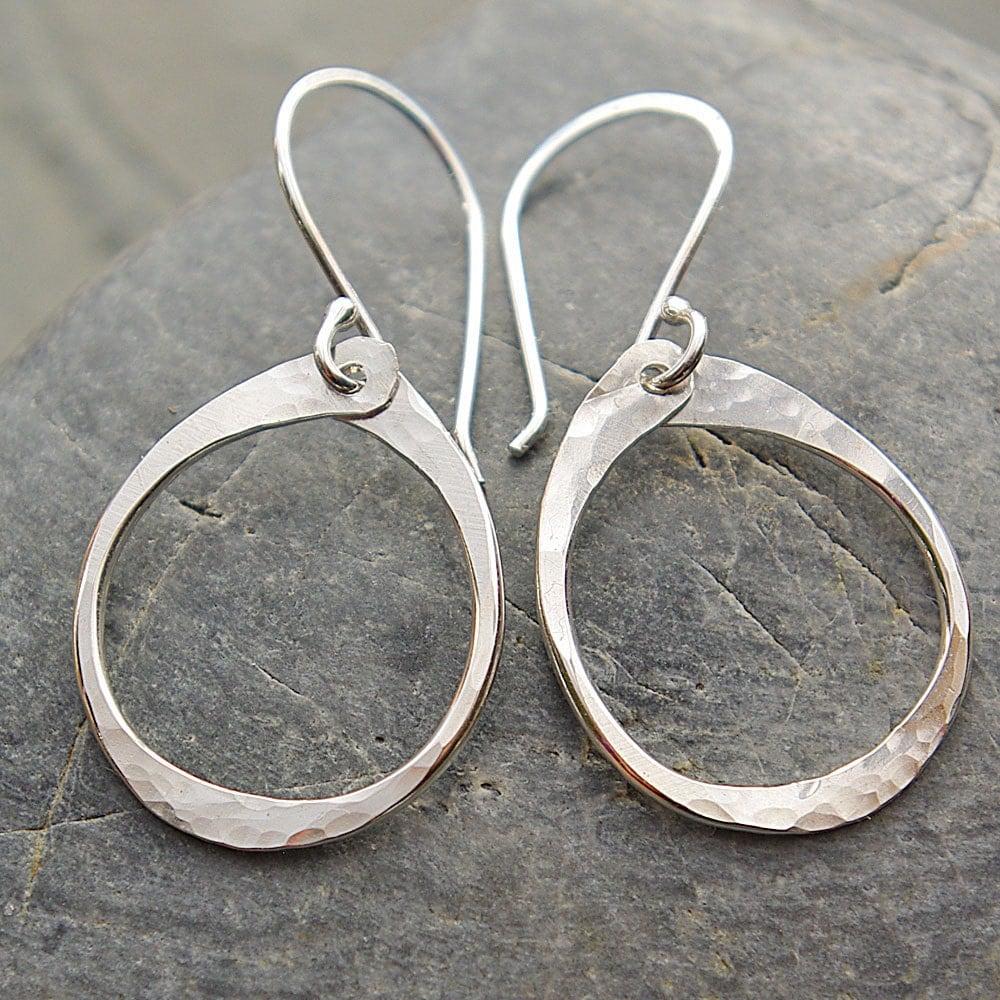 Oval Hoop Dangle Earrings Sterling Silver Hoop by ...