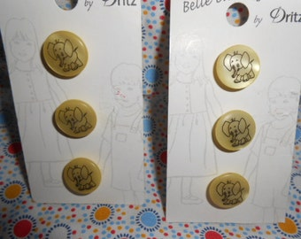 Two Cards Of Yellow Elephant Buttons-6 Total